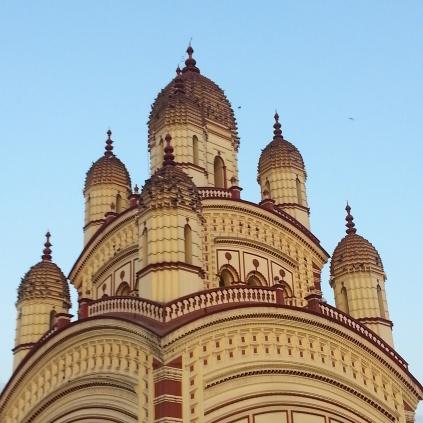 The distinctive domes of the Dakshineshwar Temple.
